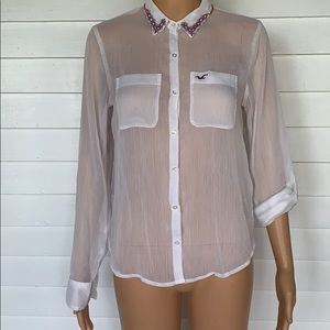 Hollister sheer button up shirt with beading